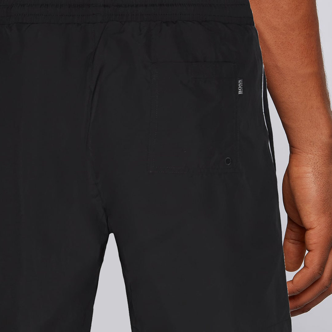 Hugo Boss - Black Quick-drying swim shorts with contrast logo and piping 50408118