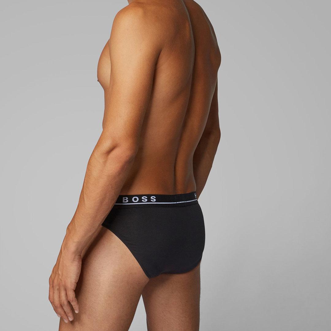 hugo boss Black Three-pack of stretch-cotton briefs with logo waistbands
