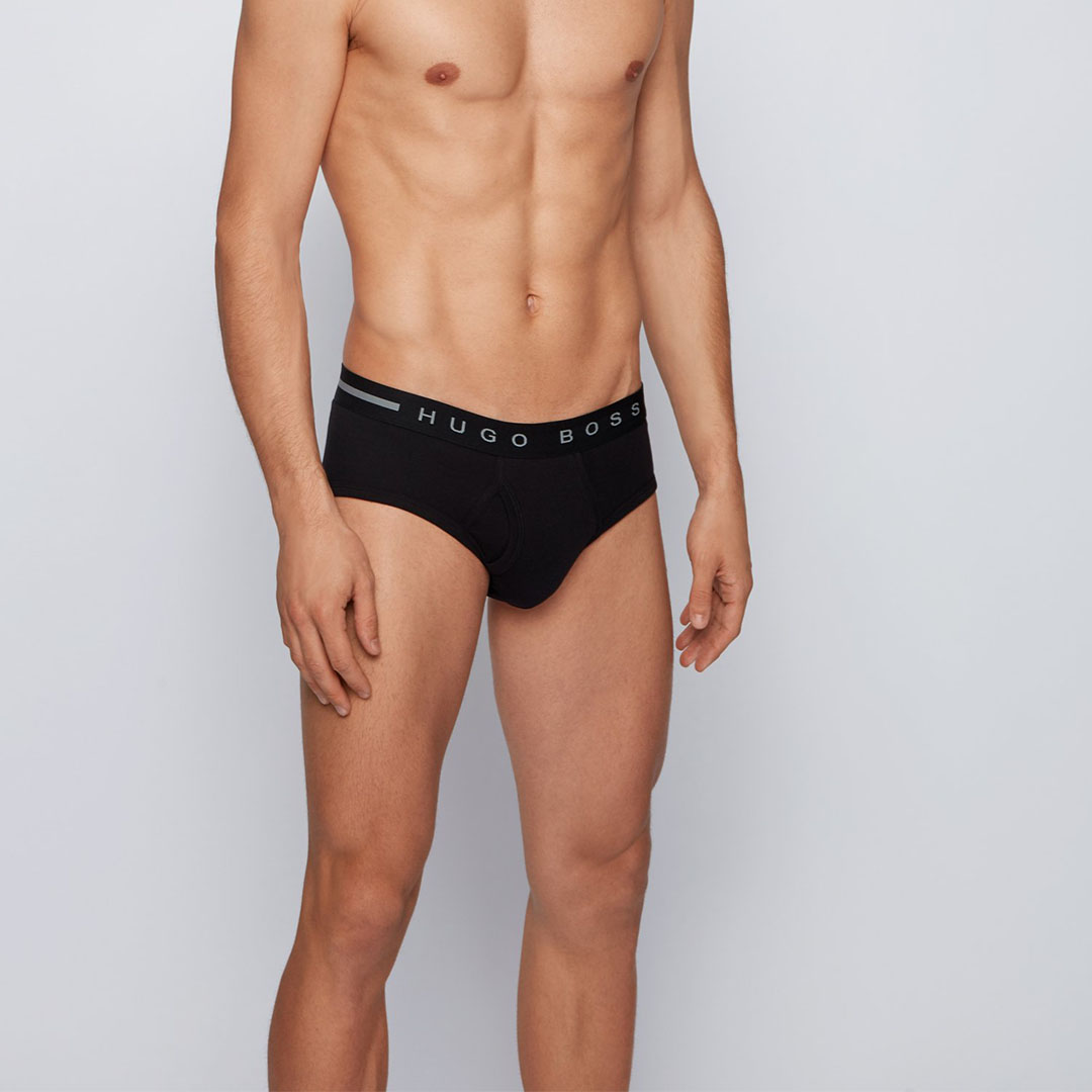 black Black Ribbed-cotton briefs with logo waistband