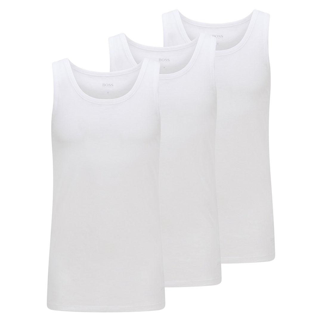 Hugo Boss - White Three-pack of underwear vests in pure cotton