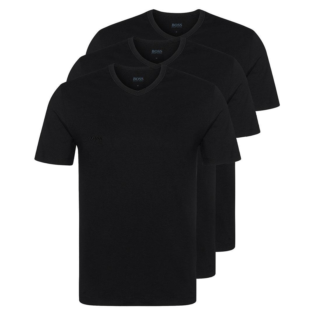 Hugo Boss - Black Three-pack of V-neck underwear T-shirts in cotton