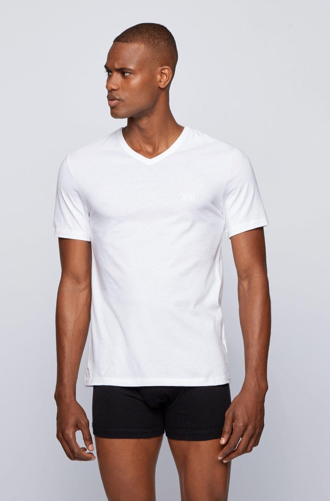 Hugo Boss - White Three-pack of V-neck underwear T-shirts in cotton