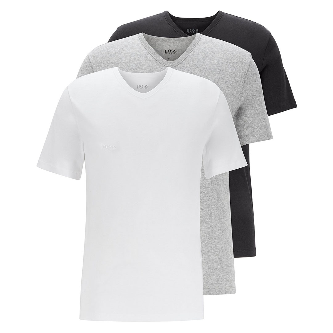 Hugo Boss - Assorted Three-pack of V-neck underwear T-shirts in cotton
