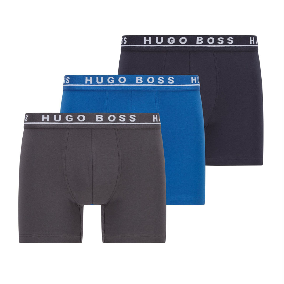 Hugo Boss - Assorted Blue Three-pack of stretch-cotton boxer briefs