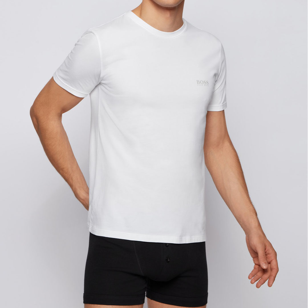 Hugo Boss - White Two-pack of underwear T-shirts with chest logo