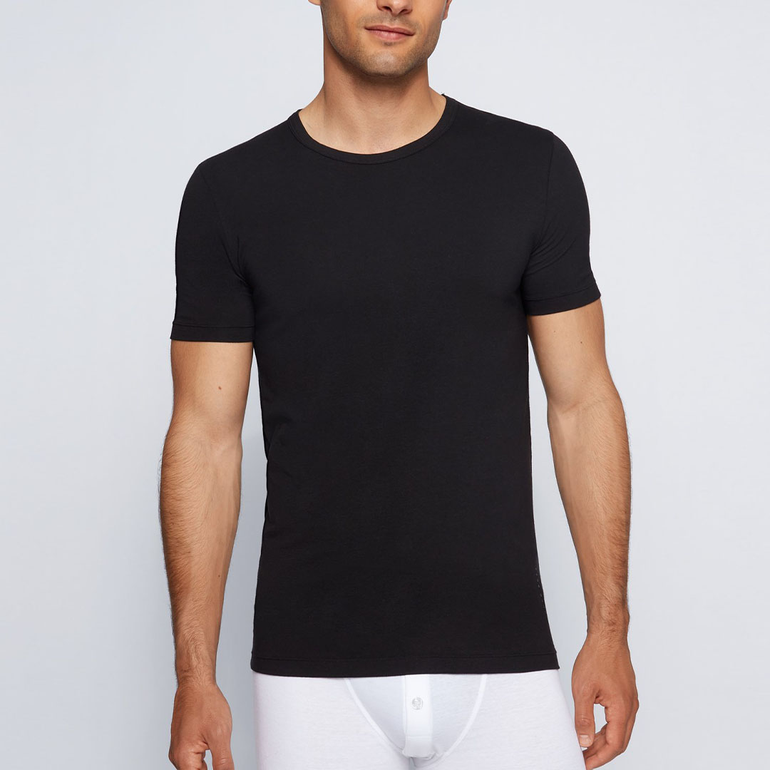 Hugo Boss - Black Slim-fit underwear T-shirt with vertical logo