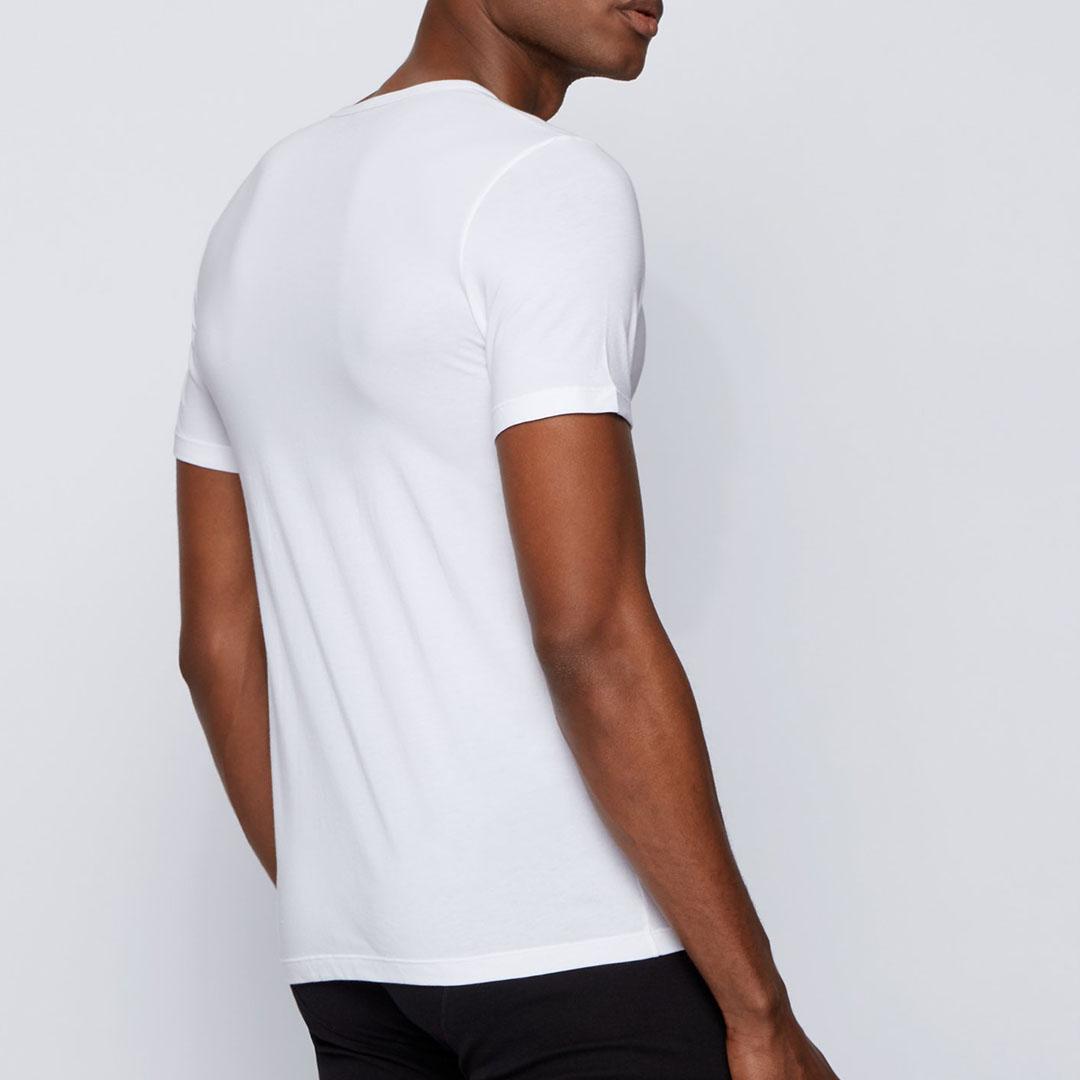 Hugo Boss - White Slim-fit underwear T-shirt with vertical logo