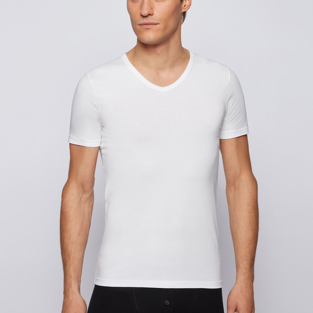 Hugo Boss - White Two-pack of slim-fit underwear T-shirts