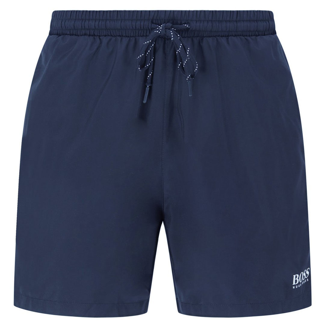 Hugo Boss - Dark Blue Quick-drying swim shorts with contrast logo and piping 50408118