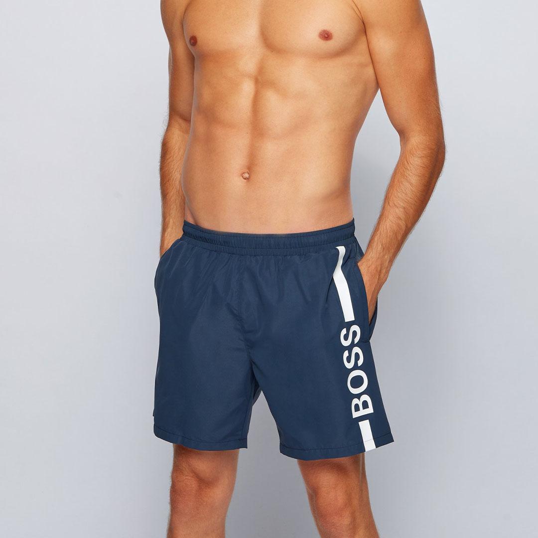 Hugo Boss - Dark Blue Quick-dry logo swim shorts in recycled fabric 50439746